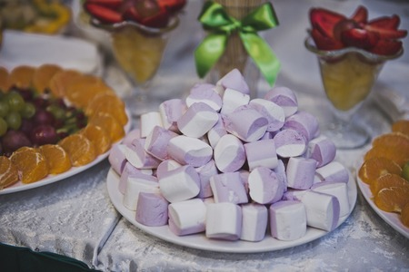 ombre cake: Sweets on a table. Stock Photo