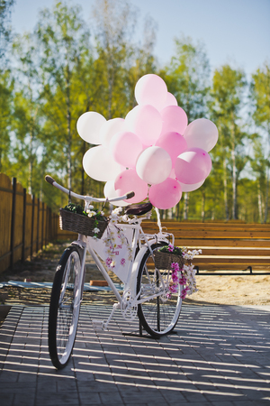 decorated bike: Decorated with baubles bike. Foto de archivo