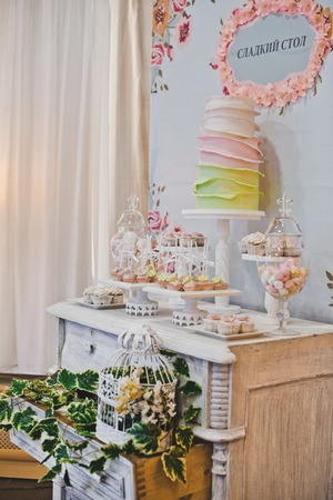 guests: Sweet treats on the table for guests. Stock Photo