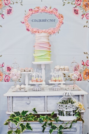 sweet treats: Sweet treats on the table for guests. Stock Photo