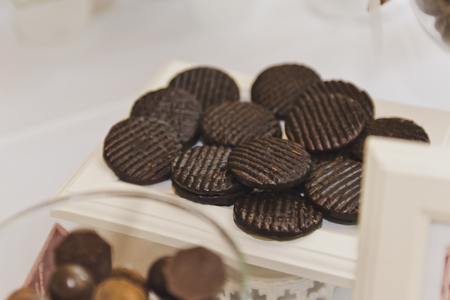 chocolate biscuit: Chocolate biscuit medallions.