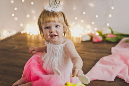 spoilt: One year old girl in a festive dress and the crown.