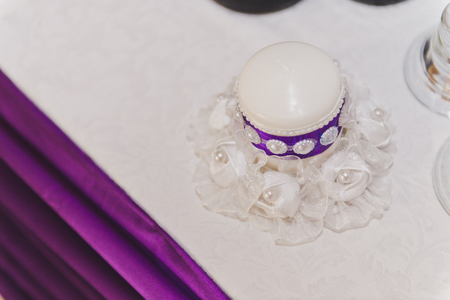 banqueting: Festive decoration of the hall in a purple theme. Stock Photo