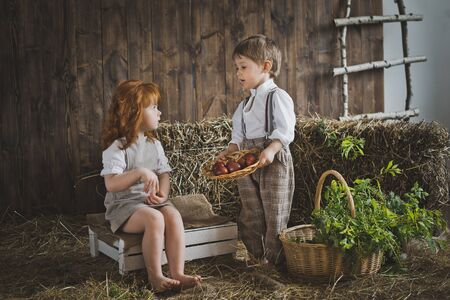 cute young farm girl: Small children view Easter eggs. Stock Photo