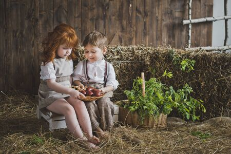 Children collect eggs for the Easter holiday. Stock Photo