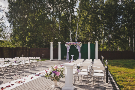 Prepared for the wedding ceremony space to accommodate spectators.
