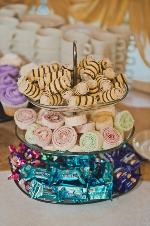 Vase with various sweets. Stock Photo
