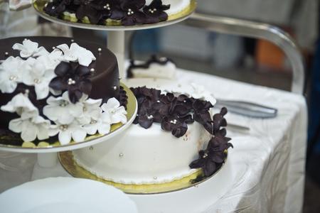 Beautiful black and white triple cake.