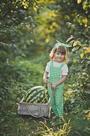 Portrait of a child with a huge watermelon in the cart. Standard-Bild - 112172694