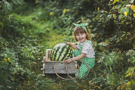 A little girl carries a huge watermelon on a cart.