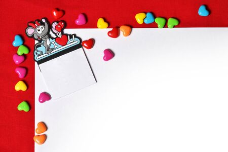 background with a mouse for Valentines Day greetings Banco de Imagens