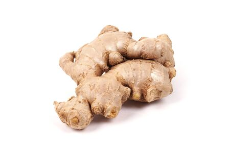 Ginger root isolated on a white background. Seasoning in the kitchen. Side view.