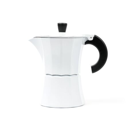 White coffee pot for brewing natural coffee. Isolated