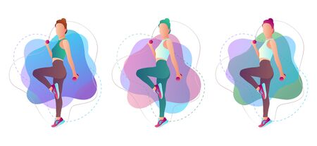 Beautiful sportive woman exercising with dumbbell. Vector illustration isolated on white background. Illustration