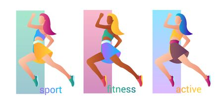 Beautiful sportive woman jumping. Vector illustration isolated on white background.