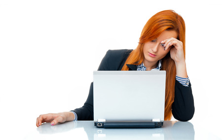 washed out: Tired businesswoman with laptop.isolated on white, close-up Stock Photo