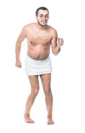 Funny bare man going to sauna. Full length of loony guy, isolated on white background