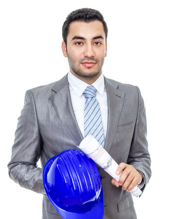 Portrait of businessman or engineer with helmet and papers, isolated on white