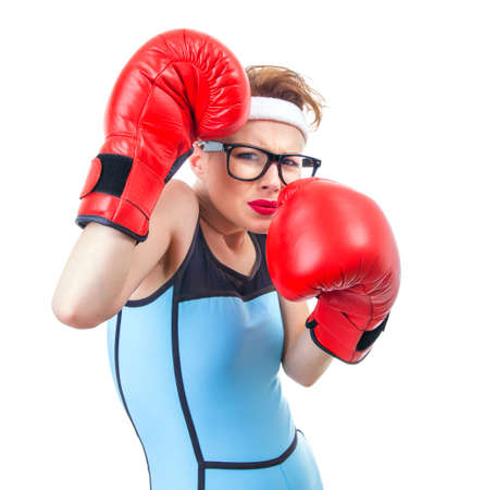 Funny boxer girl scared for fight, isolate on white