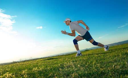 Active man ready for running, vitality runner on field