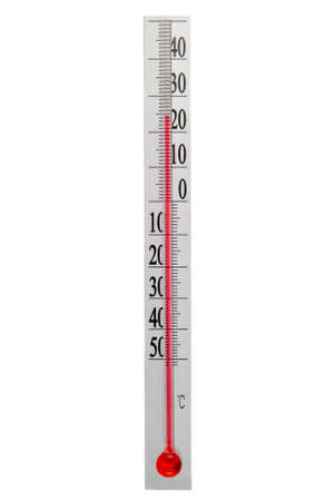 sweltering: Vertical thermometer measure the temperature of the air isolate