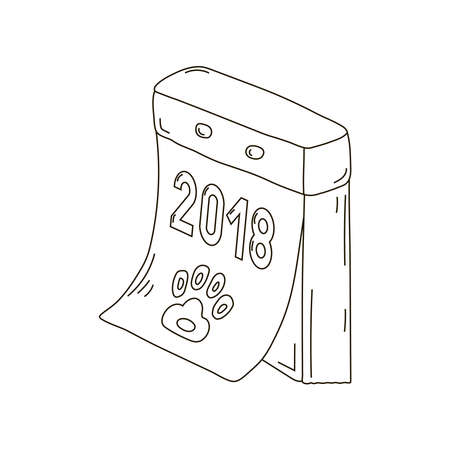 Retro-calendar tear-off russian new year, dog, icon, draw, two, zero, one, eight