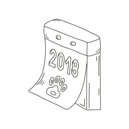 Retro-kalender afscheurbaar Russisch nieuw jaar, hond, pictogram, teken, twee, nul, één, acht