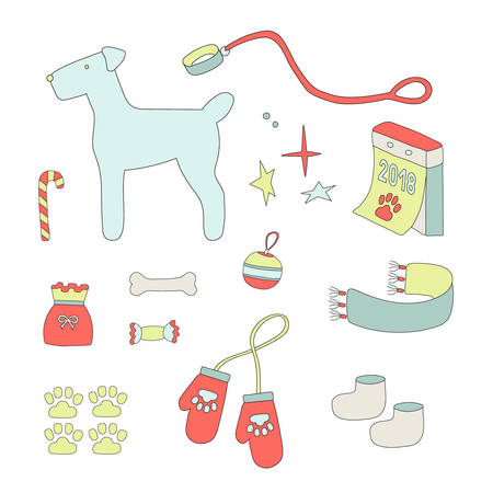 mitten: Symbols of christmas and year dog, two, zero, one, eight, set elements Illustration