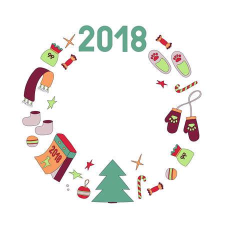 Wreath symbols of the year dog Stock Photo