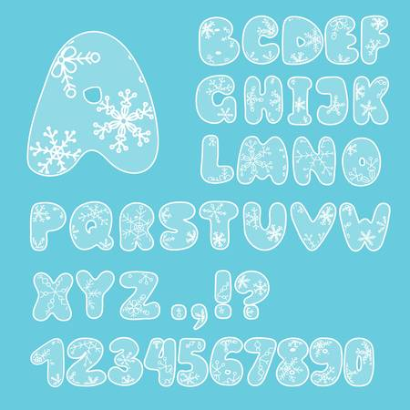 English letters, numbers and punctuation marks, with snowflakes in the Christmas style of New Years holidays. Color white and blue. For winter themes and gifts