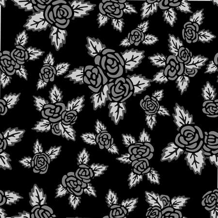 Monochrome seamless pattern. Hand drawn gray roses on black background Stock Photo