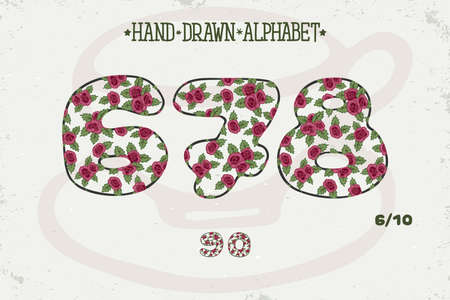 Alphabet vintage design. Red roses Shabby chic style. Romantic style. Font vector typography, English letters. Hand drawn. EPS10
