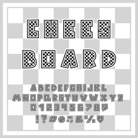 Alphabet chessboard design. Letters, numbers and punctuation marks. Decorative font for chess sports themes. Vector illustration. Layered EPS 10 Illusztráció