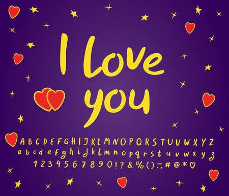 Greeting card I love you for Saint Valentines Day. Handwritten Alphabet vector set. Uppercase and lowercase Letters, Numbers and Punctuation marks. Paintbrush font clipart. EPS 10 Illustration