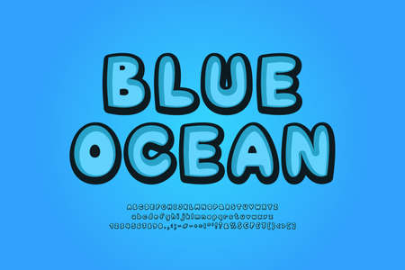 Blue ocean alphabet retro 3d typeface. Cartoon bubble font, uppercase and lowercase letters, numbers, symbols. Vector illustration 向量圖像