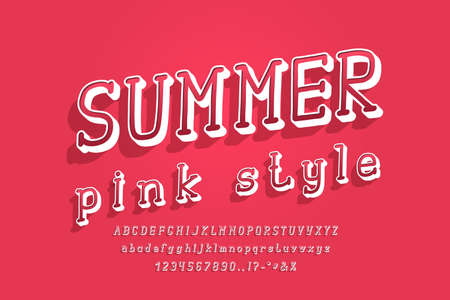 Summer pink style 3D alphabet bright modern color. Uppercase and lowercase letters, numbers, punctuation marks. Stylized retro typeface Italic serif font. Vector illustration