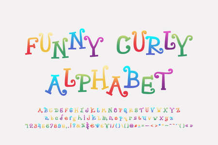 Funny colored alphabet cartoon curly font. Uppercase and lowercase letters, numbers, punctuation marks. Vector illustration. Vettoriali