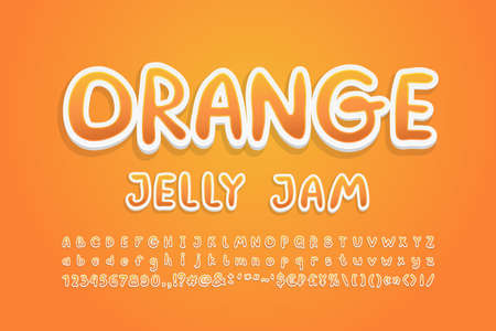 Cartoon Alphabet sweet orange fruit colors. Bright handwritten font, 3d sticker style, uppercase and lowercase letters, numbers. Vector illustration.