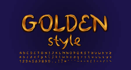 Golden style alphabet handwritten typeface golden colored. Uppercase and lowercase letters, numbers, symbols. Gradient background Navy blue colors. Vector illustration.