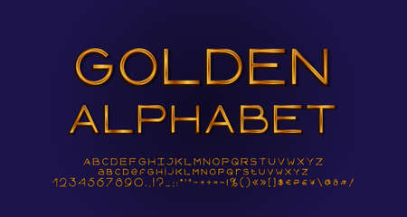 Elegant golden alphabet, geometric thin lines font typography. Uppercase and lowercase letters, numbers, symbols and marks.