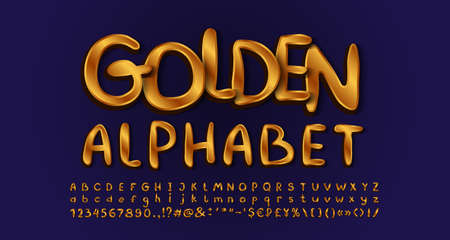 Gold elegant style alphabet, handwritten typeface golden colored. Uppercase and lowercase letters, numbers, symbols. Navy blue background.