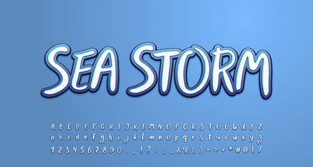 Sea storm alphabet white and gray-blue colors. Uppercase and lowercase letters, numbers, symbols.