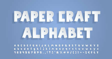 White paper alphabet. 3D font with transparent shadow, realistic paper cut out style. Uppercase and lowercase letters, numbers, punctuation marks and symbols. Vector illustration