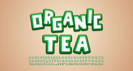 Cartoon Alphabet 3d font style, white and green colors on beige background. Uppercase and lowercase, numbers. Funny label for food marketing. Vector illustration