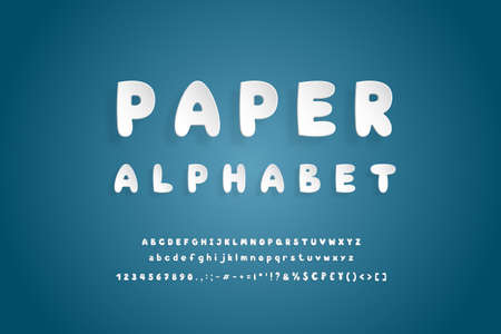 Paper alphabet. Bold white font, realistic paper cut out style. Uppercase and lowercase letters, numbers, punctuation marks and symbols. Flying 3D typeface on navy blue background
