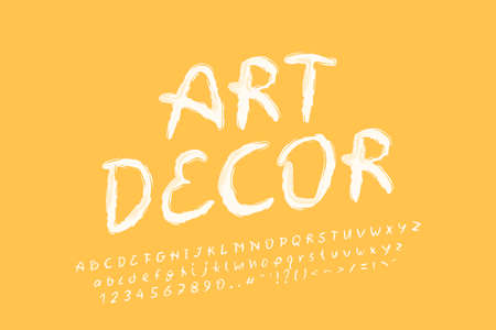 Alphabet brush design, white yellow color. Uppercase and lowercase letters, numbers and punctuation marks. Italic oblique lettering font Illustration