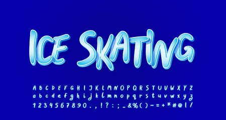 Frozen ice alphabet. Cartoon handwritten font for flyers, posters, banners of winter theme. Vector illustration