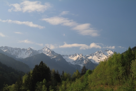 budgets: A view of Alps from Nenzing, Austria  Stock Photo