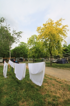 budgets: Campsite in Milan, Italy Stock Photo