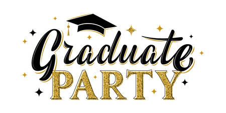 Graduate party greeting sign. Graduation label. Vector design for graduation design, congratulation ceremony, invitation card, banner. Grads symbol for university, high school, academy, college